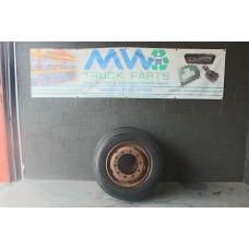 Set of 2 Vintage Wheels & Tyres Size 9 R 22.5 (Front Steers)
